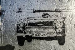 Flucht mit Sportwagen Austin Healey Sprite (B-CE 402) am 4. Mai 1963